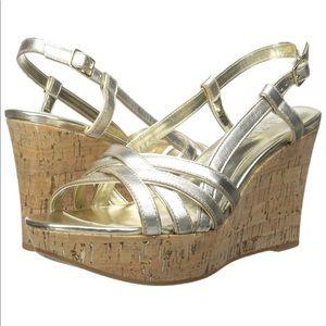 NEW 7 Ralph Lauren Gold Quaylin Wedge Sandals